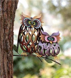Colorful Iron Owl Pair