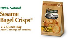 New York Style Sesame Bagel Crisps - The authentic taste of bagels from New York City bakeries. www.newyorkstyle.com/ #snacks #fingerfoods #quickbites #natural #bagels