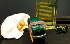 Emerald jewels courtesy of Henri J. Sillam Jewelers matched with the Emerald infused body oil (photo by Jim Dobson)
