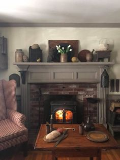 primitive homes daily crossword Country Decor, Decor, Primitive Decorating Country, Home, Country Interior, Primitive Fireplace, Colonial Decor, Living Room Furniture, Room