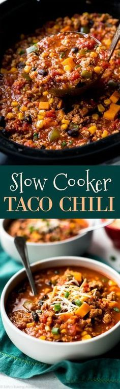 Let the crockpot do all the cooking for dinner with this crazy flavorful slow cooker taco spice chili recipe! sallysbakingaddiction.com