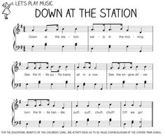 Song: Down At the Station written by Lee Ricks and Slim Gaillard. Also a book, this song can be found on Karyn Henley's Down By the Station Playsongs CD.  Connections: trains, sounds, can do counting games, gross motor if you have the kids be the trains.