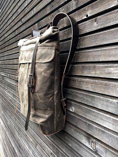 Gewachstem Canvas Rucksack/Rucksack mit Roll-up von treesizeverse