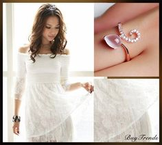 white dress and ring