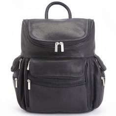 """Executive 15"""" Laptop Handcrafted Black Colombian Leather Backpack"""