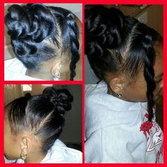 Cute hairstyle for little girl on special occasion.