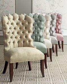 """<ul> <li>EXCLUSIVELY OURS .</li> <li>Handcrafted dining chair.</li> <li>Alder wood frame.</li> <li>Polyester/rayon upholstery.</li> <li>26""""W x 25""""D x 44""""T; seat, 21""""T.</li> <li>Made in the USA of imported materials.</li> </ul>"""