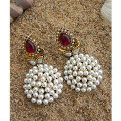 Pearl Maroon Danglers With Antique Polish T15