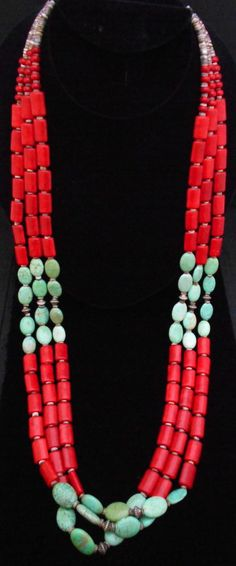 Estate Red Coral and Turquoise Shell Heishi Necklace LONG Double Strand *254