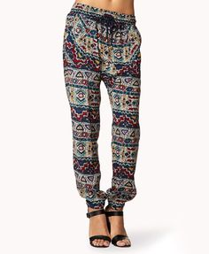 I'm really thinking about getting pants like this for the summer... AE has some too! Tribal Print Harem Pants | FOREVER21