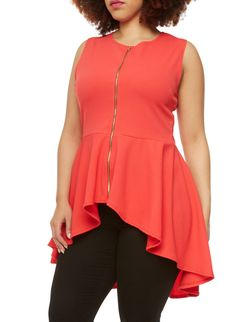 Rainbow Plus Size Peplum Tank Top With Zip Front And High Low Hem