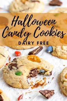 These Halloween Candy Cookies are a perfect way to use up all that leftover Halloween candy. Gooey, soft, and each bite is loaded with meltey Halloween candy! They are done in 25 minutes, and are easy and customizeable. #leftoverhalloweencandy #halloweenrecipe #dairyfree Chocolate No Bake Cookies, Candy Cookies, Peanut Butter Cookies, Holiday Cookies, Fall Dessert Recipes, Easy Cookie Recipes, Fall Desserts, Fun Halloween Treats, Spooky Halloween