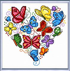 Rainbow Butterflies - cross stitch pattern designed by Ursula Michael.