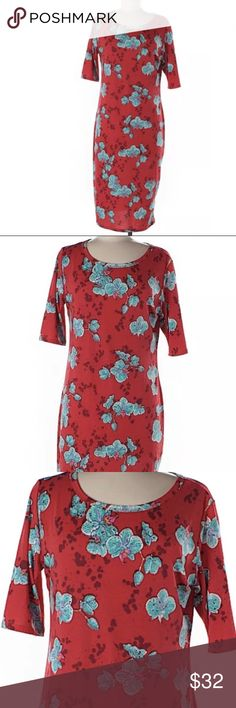 Lularoe Julia size large red orchid dress gorgeous Lularoe  Size Large  Red with blue Aqua/turquoise orchids  Gorgeous!  Great condition  96% spun polyester 4% spandex  Made in USA LuLaRoe Dresses Midi