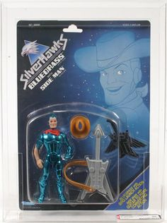"""Bluegrass, with Side Man guitar / hawk, from the """"SilverHawks"""" line of toys in the 1980s"""