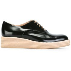 Unützer wedge Oxford shoes (3,225 CNY) ❤ liked on Polyvore featuring shoes, oxfords, black, black laced shoes, leather shoes, wedges shoes, low wedge shoes and black leather oxfords