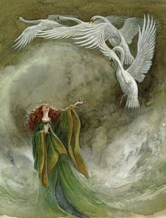 The Children of Lir is a classic Irish version of the swan story: a king has four children, his wife dies, he remarries, his new wife is jealous and transforms the children into swans, animals befriend the children/swans, and eventually the spell is broken and the queen is forced to leave.