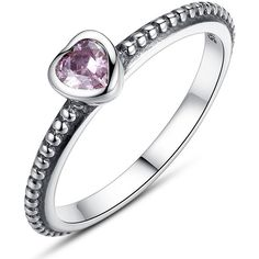 Rings Sterling Silver Purple Zirconia Love Heart Ring (€21) ❤ liked on Polyvore featuring jewelry, rings, heart jewelry, sterling silver heart shaped rings, purple heart ring, purple jewellery and sterling silver band rings