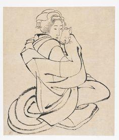 Lady Holding a Cat TYPE Album leaf MAKER(S) Artist: Katsushika Hokusai 葛飾北斎 (1760 - 1849) HISTORICAL PERIOD(S)