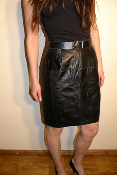 Vintage Black Leather Skirt by JustGiza on Etsy, $19.00