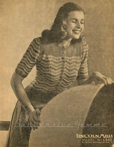The Vintage Pattern Files: 1940's Knitting - Striped Cardigan