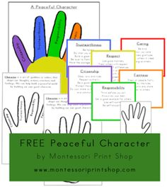 Help young children understand how to become more peaceful and tolerant by learning about the 6 pillars of peaceful character (respect, caring, fairness, responsibility, trustworthiness, citizenship). Using the hand as an example makes this lesson easier for children to remember.