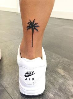 Palm Tree Tattoo on back of ankle