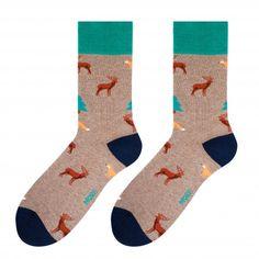 Hnedé pánske ponožky s lesným motívom Socks, Sock, Stockings, Ankle Socks, Hosiery