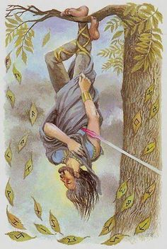 (Odin) The Hanged Man from Tarot of Northern Shadows by Sylvia Gainsford.