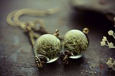 Norwegian Green Lichen Moss Captured In Glass Globe Earrings  Get in touch with your natural side and take a Winter walk with a pair of lovely