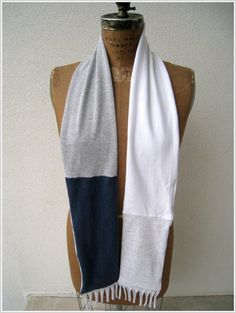 UpCycled Penn State T Shirt Tee Scarf / Navy Blue White by ohzie, $25.00