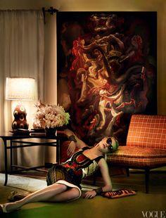 Alberta Ferretti beaded dress - Mario Testino's L.A. Home for Vogue