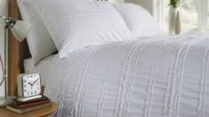 White Bedding & Fresh Summer Bedroom Looks White Bedspreads, White Bedding, Summer Bedroom, Bed Company, White Bedrooms, White Duvet Covers, Natural Bedding, Linen Sheets, Dust Mites