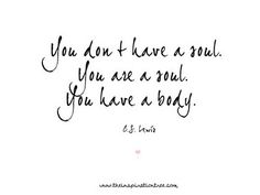 You are a soul. Gosh, I love C.S. Lewis!