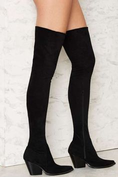 Jeffrey Campbell Gatlin Over-the-Knee Suede Boot - Boots + Booties : Over the Knee