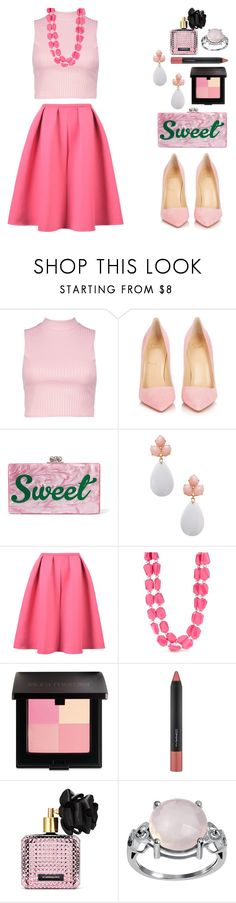"""Pink Mid Skirt"" by pure-vnom ❤ liked on Polyvore featuring Boohoo, Christian Louboutin, Edie Parker, Rina Limor, WithChic, Kim Rogers, Laura Mercier, MAC Cosmetics and Victoria's Secret"