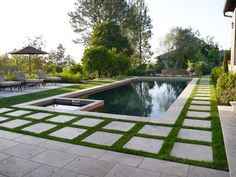 synthetic grass warehouse Pool Mediterranean with concrete contemporary landscaping field grown olive trees grass pool
