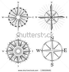 Vector set illustration of abstract artistic detailed drawings compass for area map.