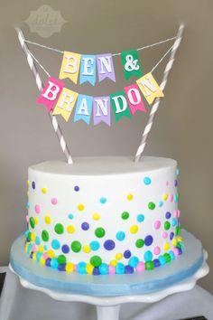 Confetti cake for a twins birthday