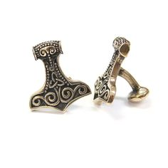 Thors Hammer Cufflinks Mens Bronze Mjolnir Cuff Links Viking Cufflinks... (7595 RSD) ❤ liked on Polyvore featuring men's fashion, men's accessories and cuff links