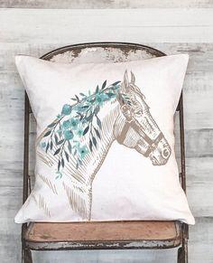Pillow Cover horse pillow Farmhouse Decor Pillow Equestrian Decor