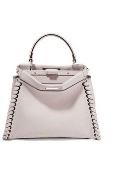 FENDI Peekaboo Medium Whipstitched Leather Tote. #fendi #bags #shoulder bags #hand bags #stone #leather #tote #