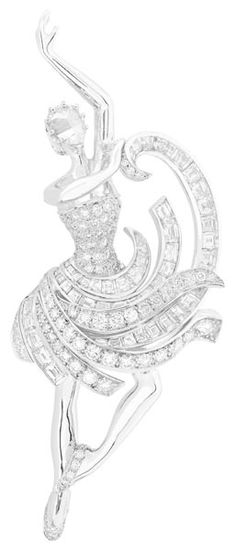 fig.: The image shows one of three 'Ballerina' clips made of white gold (the dancer's body) and diamonds (which sparkle on the ballerina's shoes, bodice and ribbon skirt). The figure (70x30mm) looks like a moment of movement frozen for eternity. The three Ballerina clips are Van Cleef & Arpels' high jewellery tribute pieces to Benjamin Millepied's ballet 'Reflections', premiere on 23 May 2013 at the Théâtre du Châtelet in Paris. Photo: (C) Van Cleef & Arpels.