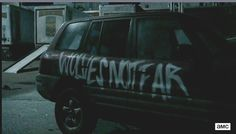 "The SUV trap has been spray painted and now reads ""Wolves Not Far."" ...  Please read more and let's hear your thoughts at: http://allaboutthetea.com/2015/03/30/thewalkingdead-season-5-finale-recap-conquer-episode-16/"