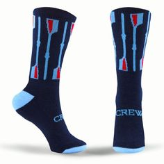 Rowing Half Cushioned Crew Socks - Crew Oars - Navy, Light Blue and Red ChalkTalkSPORTS