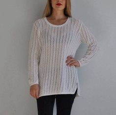 Vintage heavy knit minimalist sweater in pure natural linen oversized loose Finnish jumper