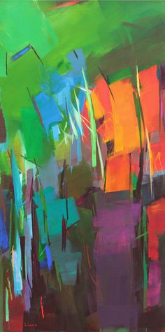 FineArtSeen - Aus naechster Naehe (at close range) by Ute Laum. This original abstract painting is full of colour and comes from the collection on FineArtSeen. Click to view more art at great prices from the Home Of Original Art. << Pin For Later >>