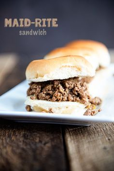 delicious loose meat sandwich will quickly become a fave! Maid-Rite Sandwich recipe on This delicious loose meat sandwich will quickly become a fave! Maid-Rite Sandwich recipe on Roast Beef Sandwich, Soup And Sandwich, Sandwich Recipes, Meat Recipes, Cooking Recipes, Hamburger Recipes, Recipies, Hamburger Dishes, Diner Recipes