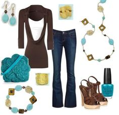 fashion jeans and chunky jewelry