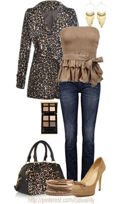 """Neutral Tube Top & Animal Print Coat"" by casuality on Polyvore"